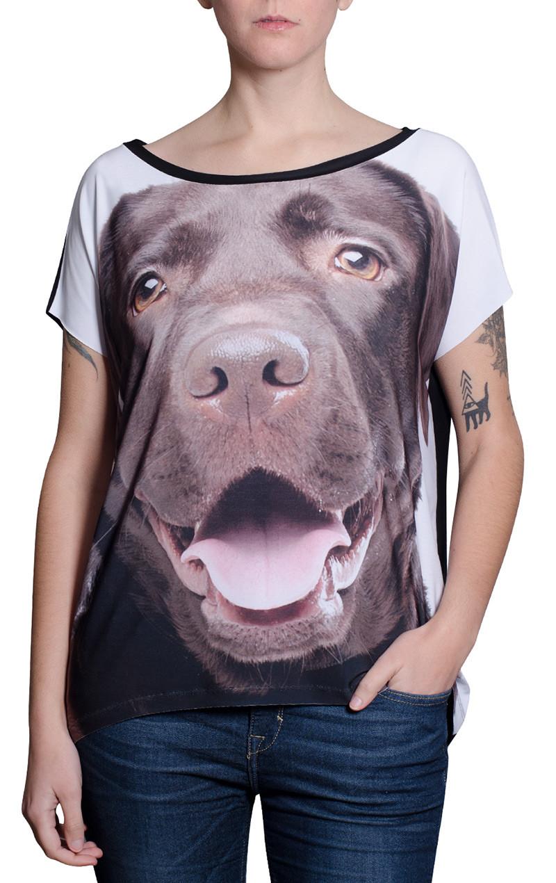 blusa-mulher-desenho-cachorro-raca-labrador-chocolate-usenatureza
