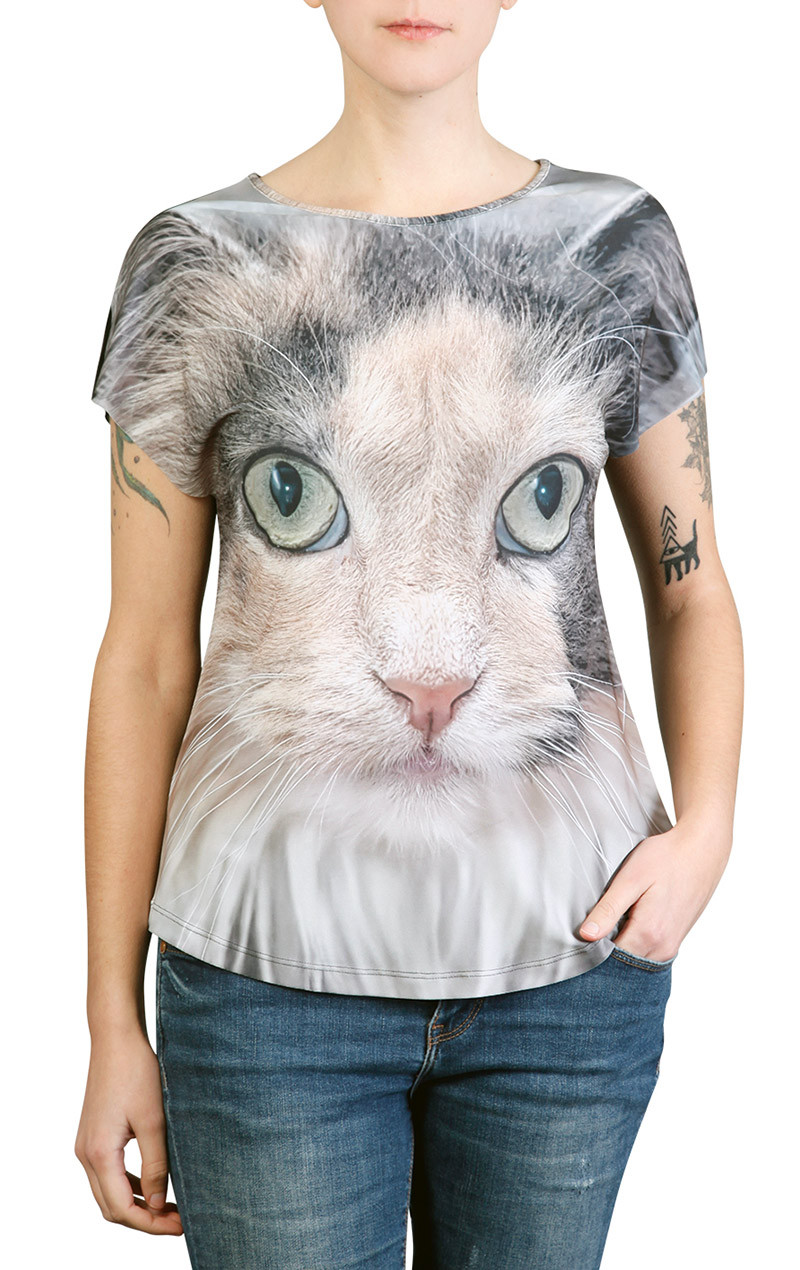 Camiseta Premium Evasê Gato Cinza