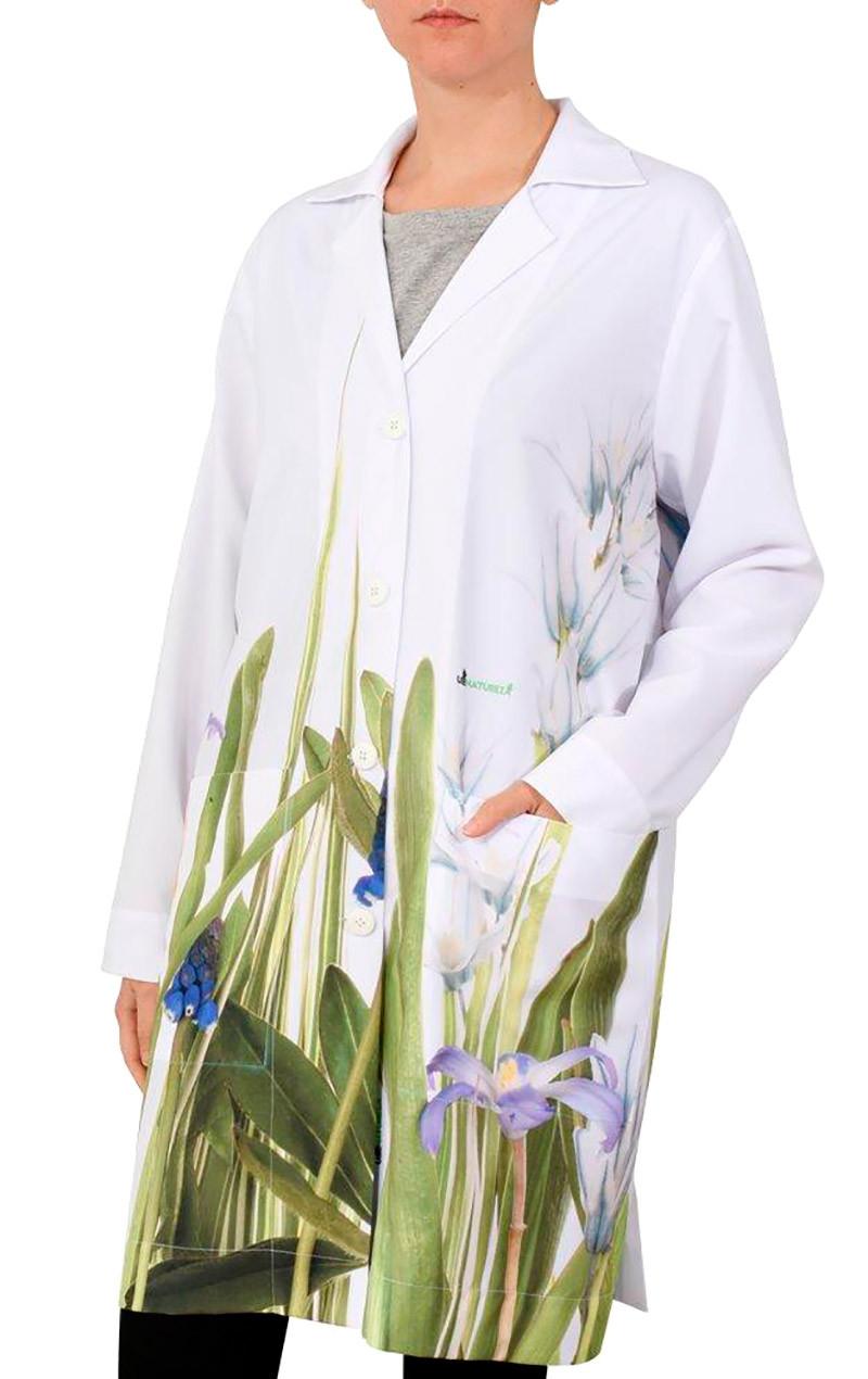 uniforme-jaleco-desenho-flor-roxa-plantas-usenatureza