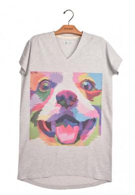 Vestido Camiseta Piquet Cachorro Colorido