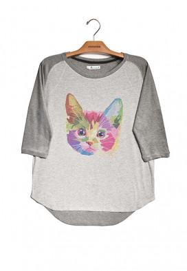 Camiseta Canelada Manga ¾ Gato