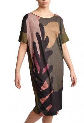Vestido Gravuras Folhas feito a mao conforto inspira USENATUREZA 1