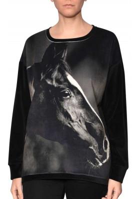 Pulôver Plush-Veludo Cavalo Negro
