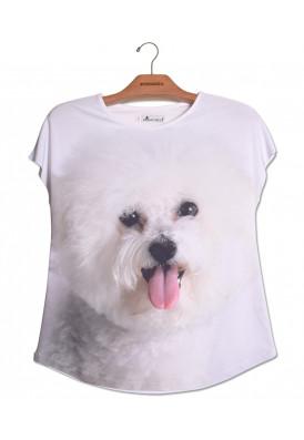 Camiseta Premium Evasê Bichon Frisé