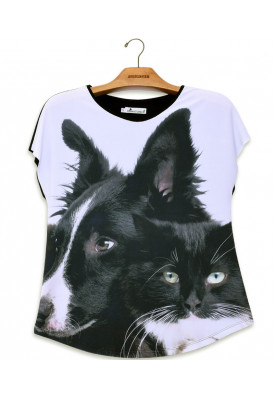 Camiseta Premium Evasê Cão e Gato SRD