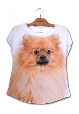 Camiseta Premium Evasê Lulu da Pomerânia (Spitz)