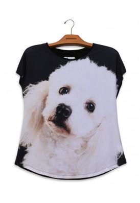Camiseta Premium Evasê Poodle Branco