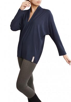 Blusa Agave Decote V Azul Noite