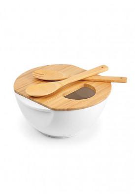 Saladeira em Bambu e Porcelana