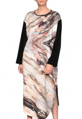 Vestido Longo Plush Casca de Árvore