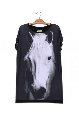Camiseta Vestido Premium Cavalo Branco