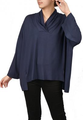 Blusa Ampla Decote V Azul da Prússia