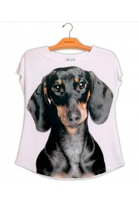 Camiseta Premium Evasê Dachshund Preto