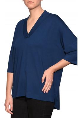 Blusa Decote V Azul Da Prússia