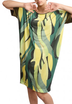 Vestido Folhas Green sustentavel eco-friendly feito a mão USENATUREZA 1
