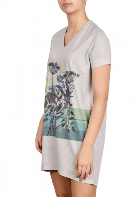 Vestido Camiseta Piquet Listras Floral