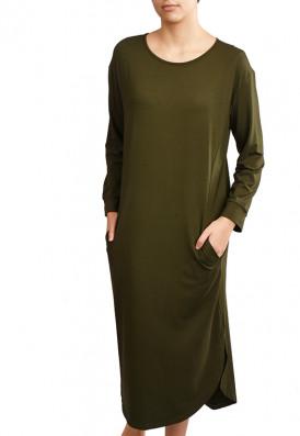 Vestido Bolsos Verde Cedro